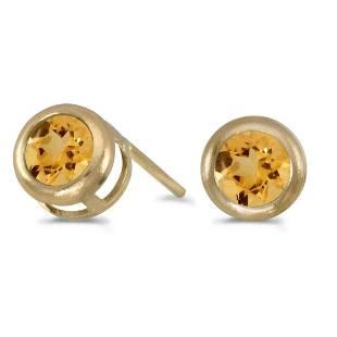 Certified 14k Yellow Gold Round Citrine Bezel Stud Earr
