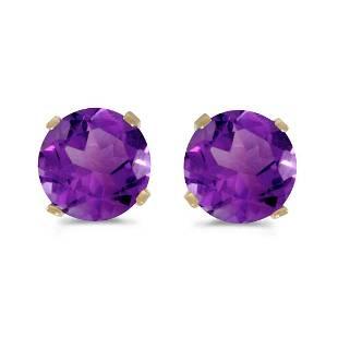 Certified 5 mm Natural Round Amethyst Stud Earrings Set