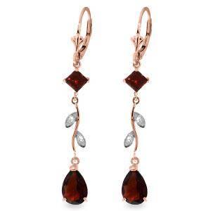 3.97 CTW 14K Solid Rose Gold Chandelier Earrings Diamon