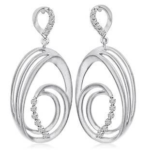 Certified 14K White Gold Oval Satin Drop Diamond Earrin