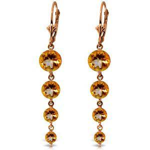 14K Solid Rose Gold Chandelier Earrings with Natural Ci