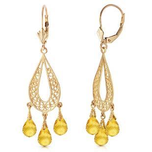 3.75 Carat 14K Solid Gold Chandelier Earrings Natural C