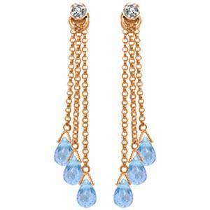 14K Solid Rose Gold Chandelier Earrings withDiamonds &