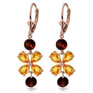 5.32 Carat 14K Solid Rose Gold Chandelier Earrings Citr