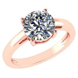 Certified 0.91 CTW D/VS1 Round Diamond Solitaire Ring 1