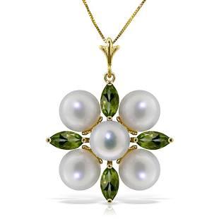 6.3 Carat 14K Solid Gold Fear No More Peridot pearl Nec