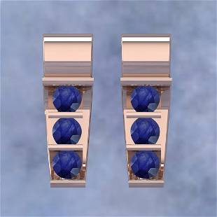 Certified 0.60 Ctw Blue Sapphire 14K Rose Gold Stud Ear