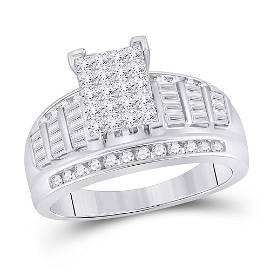 10kt White Gold Princess Diamond Cluster Bridal Wedding