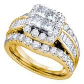 14kt Yellow Gold Princess Diamond Cluster Bridal Weddin