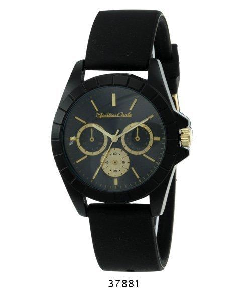 """Montres Carlo """"Jean"""" Black Chronograph Watch w/ Black S"""