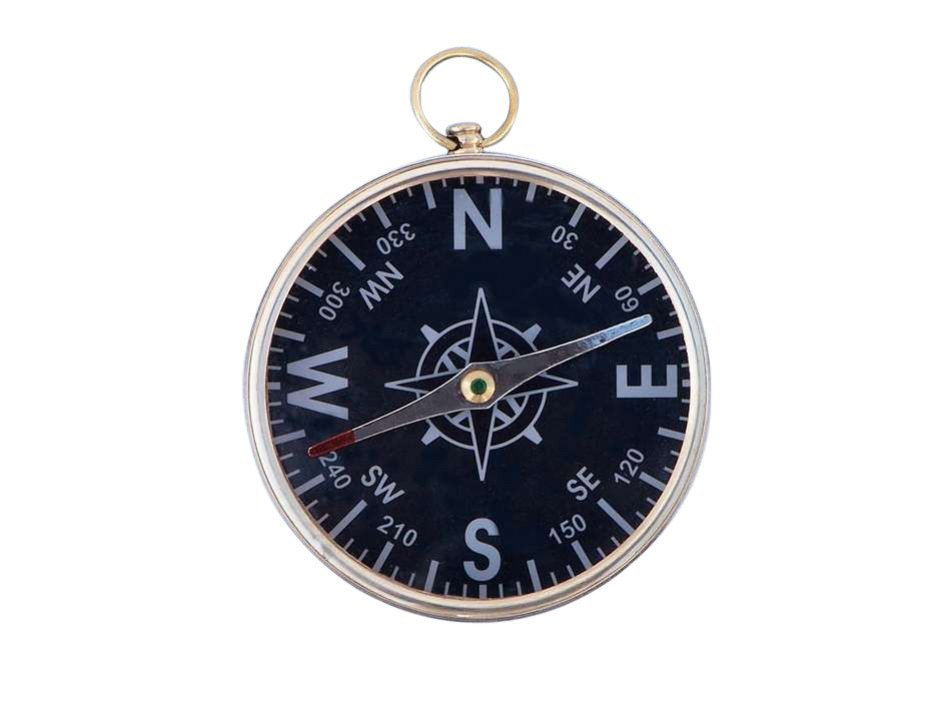 """NAUTICAL 4"""" SOLID BRASS BLACK FACED COMPASS"""