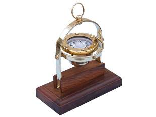 """NAUTICAL ANTIQUE STYLE BRASS GIMBALED 8"""" COMPASS"""