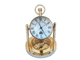 """Nautical Solid Brass Clock with Compass 5"""""""