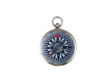 """NAUTICAL 2"""" SOLID BRASS BLACK AND WHITE 2"""" COMPASS"""