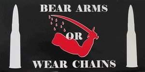 "Bumper Sticker - ""Bear Arms or Wear Chains"" - Black"