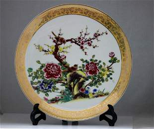 CHINESE FLOWER TREE WITH BROWN BIRDS PORCELAIN PLATE W/