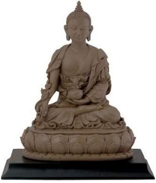 "5.75"" CLAY FINISH BUDDHA STATUE"