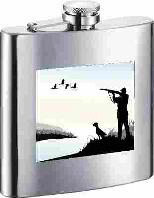 Visol Sunset Duck Hunting Stainless Steel 7oz Hip Flask