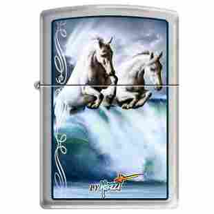 GENUINE ZIPPO LIGHTER MAZZI WAVES AND HORSES