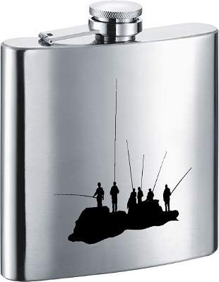 Visol Fishing with Friends Stainless Steel 7oz Hip Flas