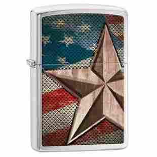 GENUINE ZIPPO FLAG AND STAR LIGHTER