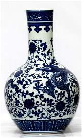 Chinese Blue And White Porcelain Vase W/Dragon Design