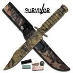 """13.25"""" CAMOUFLAGED SURVIVAL KNIFE W/SURVIVAL KIT AND SH"""