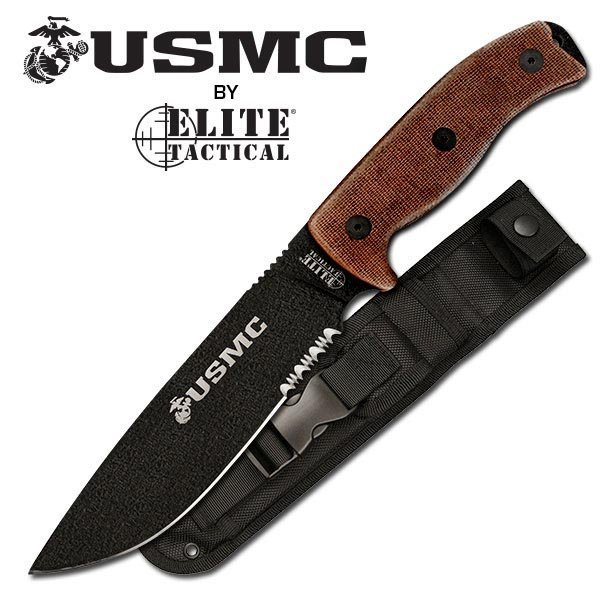 """USMC FIXED BLADE 12"""" KNIFE W/PARTIALL SERRATED BLADE"""