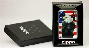 "GENUINE ZIPPO LIGHTER ""BALD EAGLE WITH FLAG"""