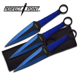 """9"""" BLACK AND BLUE THROWING KNIVES"""
