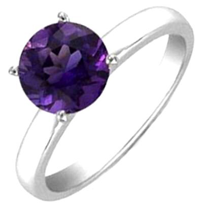 AMETHYST 4.25 CTW SOLITAIRE RING 14K W/Y GOLD