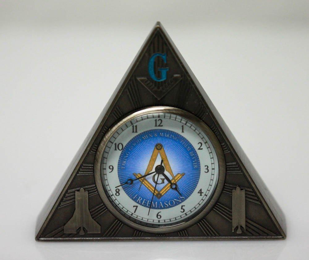 MASONIC PYRAMID CLOCK W/ TEMPLE ON BACK