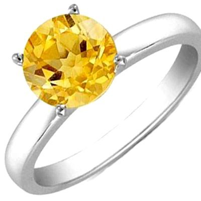 CITRIN 1.45 CTW SOLITAIRE RING 14K W/Y GOLD