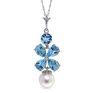 14K. SOLID GOLD NECKLACE WITH BLUE TOPAZ & PEARL