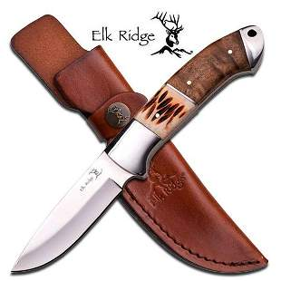 "ELK RIDGE 8"" OX BONE INLAY WOOD HANDLE HUNTING KNIFE"