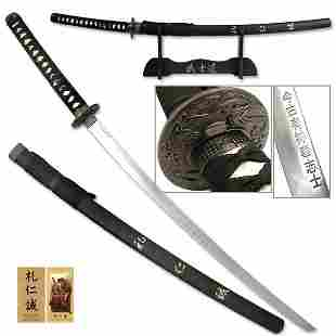 COLLECTIBLE STAINLESS STEEL KATANA W/HAND CARVED BUSHID