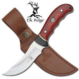 "9"" ELK RIDGE PAKKAWOOD HANDLED FIXED BLADE KNIFE W/LEAT"