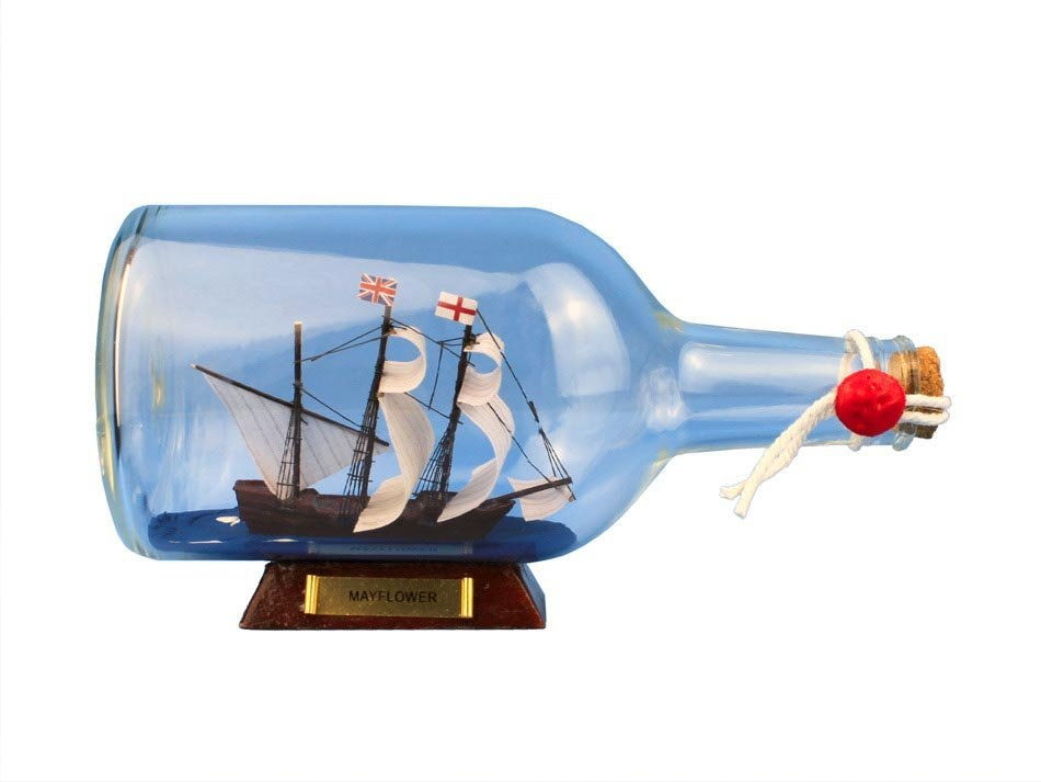 Hand Made Mayflower Ship in a Bottle 9""