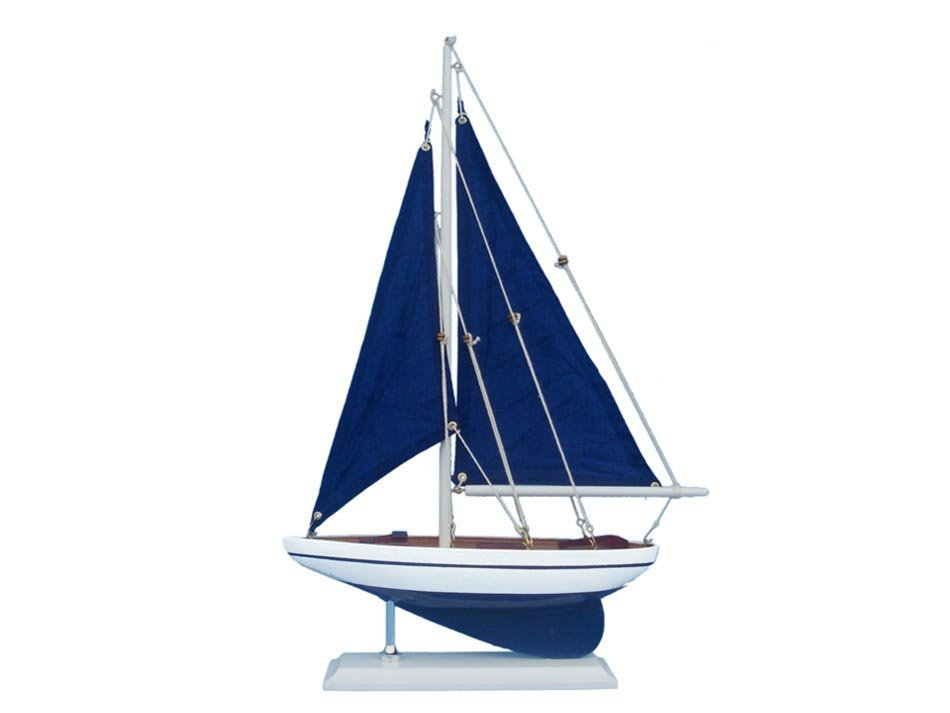 "Hand Made Pacific Sailer 17"" - Blue Sails"