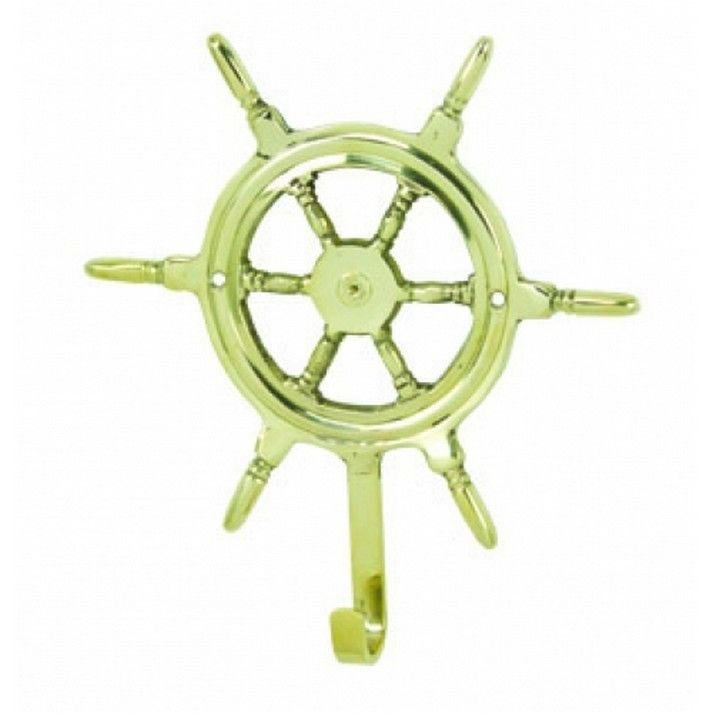 Nautical Solid Brass Ship Wheel Hook 7""