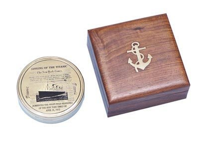 "Nautical Solid BrassRMS Titanic Compass 4"" w/ Rosewood"