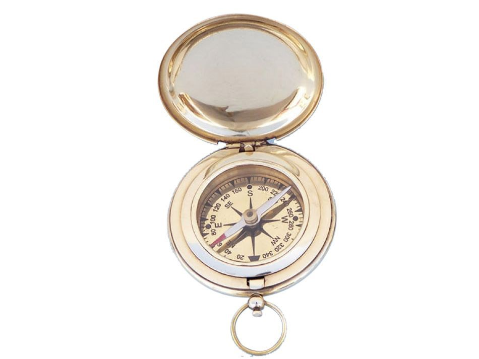 "NAUTICAL SOLID BRASS CAPTAINS PUSH BUTTON 3"" COMPASS"