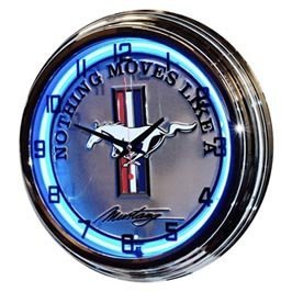 "17"" Blue Neon Wall Clock ""The Legend Lives"" Mustang"