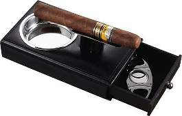Visol Carlos Black Leather Cigar Ashtray