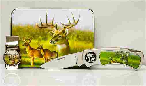 WILDLIFE STAINLESS DEER MONEY CLIP AND KNIFE