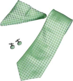 Toriz Lime Green Pattern Tie, Cufflinks and Pocket Squa