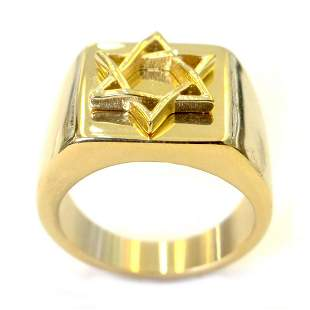JEWISH STAR BRASS RING