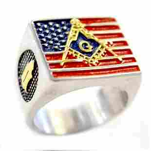 MASONIC W/AMERICAN FLAG MASONIC STAINLESS STEEL RING