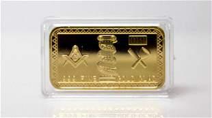 .999 FINE MASONIC GOLD CLAD BAR