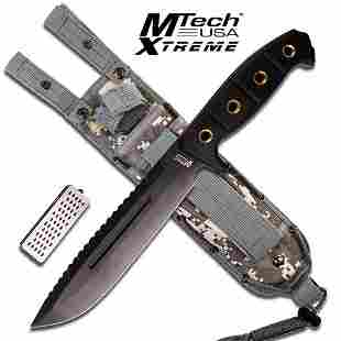 """14.5"""" TACTICAL MTECH FIXED BLADE KNIFE W/WOOD HANDLE AN"""